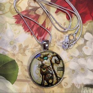 🌹NWT Cute unisex glass steampunk kitty pendant